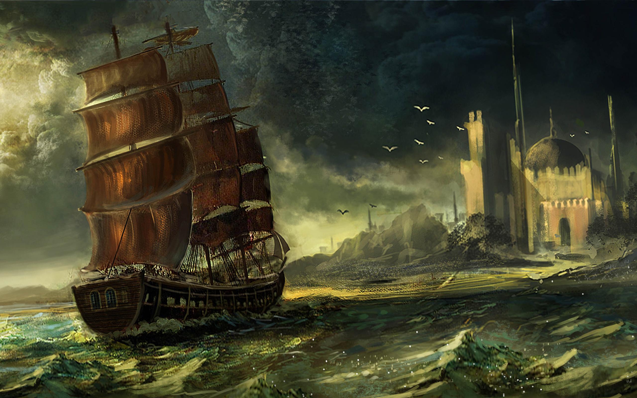 Sea waqas mallick ship sailing art wallpaper 2560x1600 163392 2560x1600