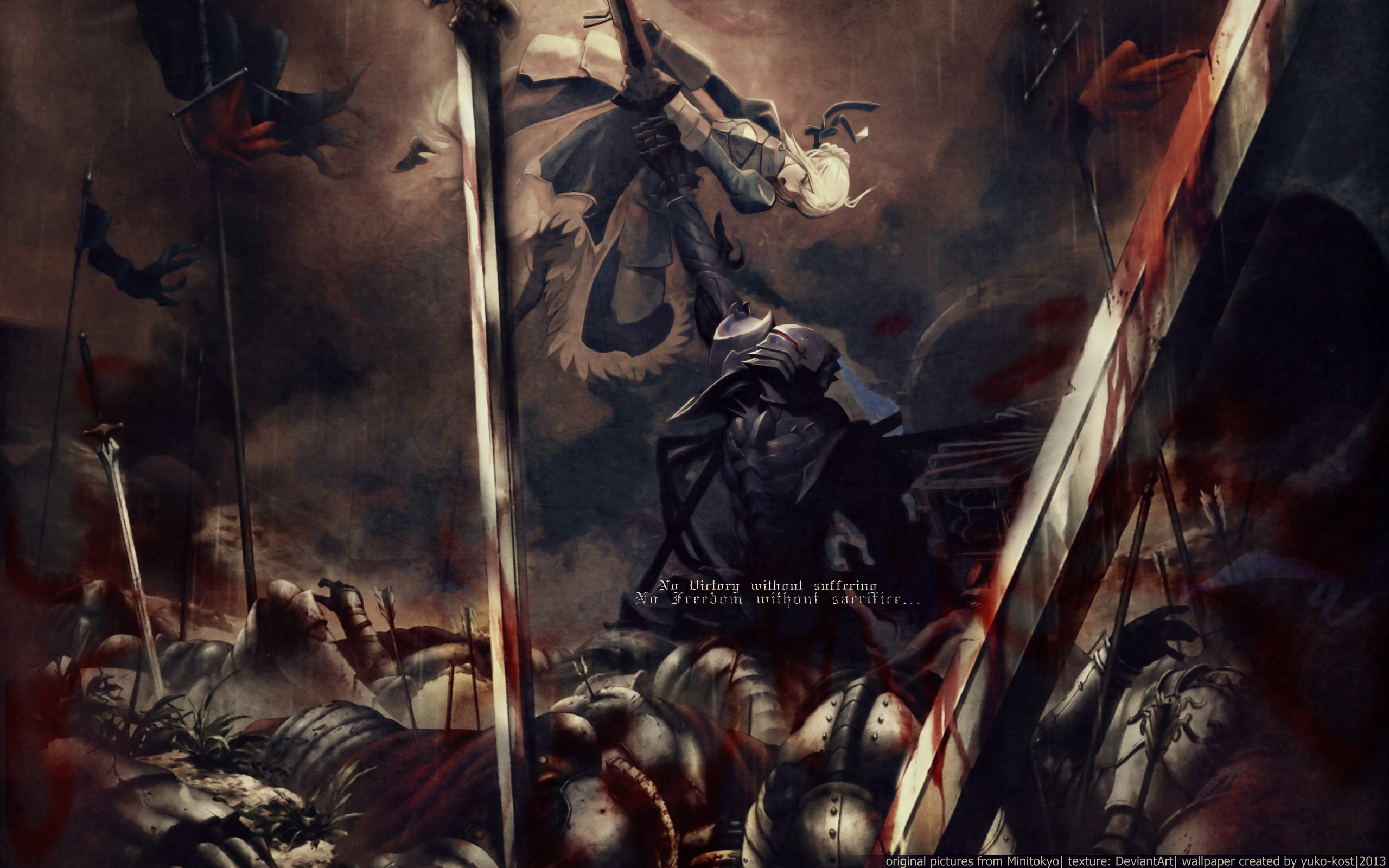 night fate zero saber short hair sword weapon zero berserker wallpaper 2560x1600