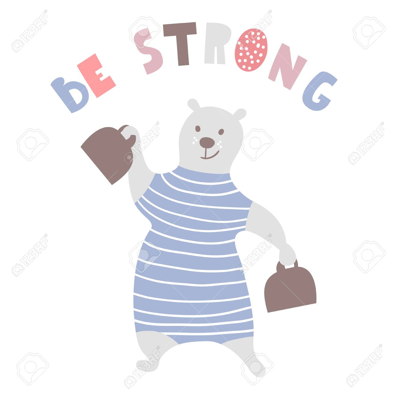 Cartoon Bear Strongman Bear Circus Artist Greeting Background 1300x1300