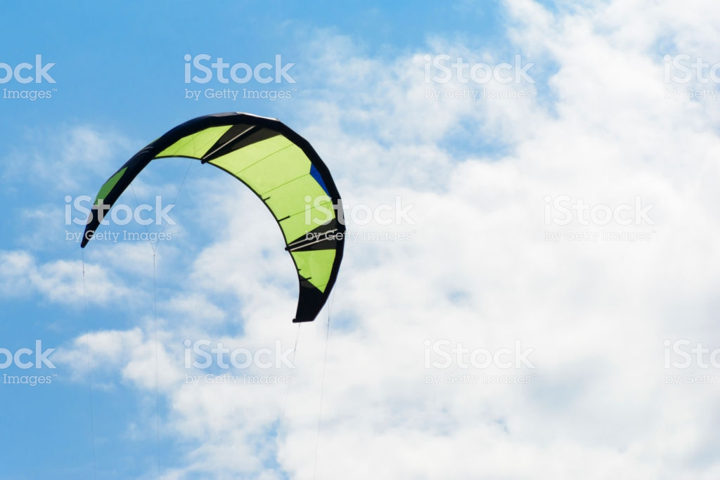 Kiteboarding Kite Closeup Blue Sky With Clouds In Background Stock 1024x683