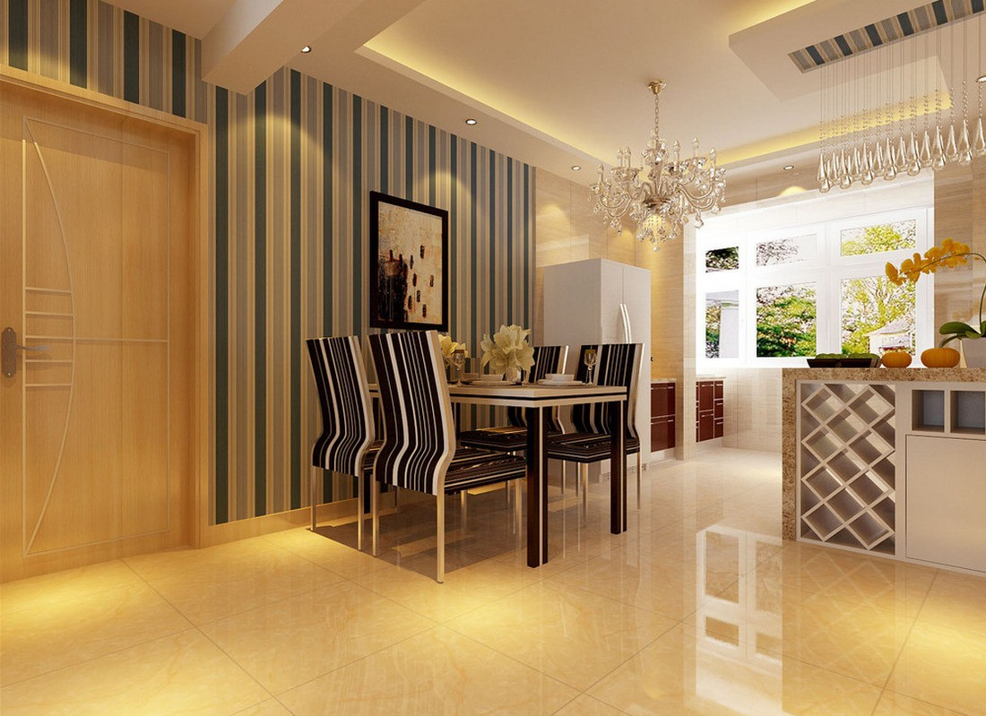 Beautiful wallpaper for modern dining room Download 3D House 1100x799