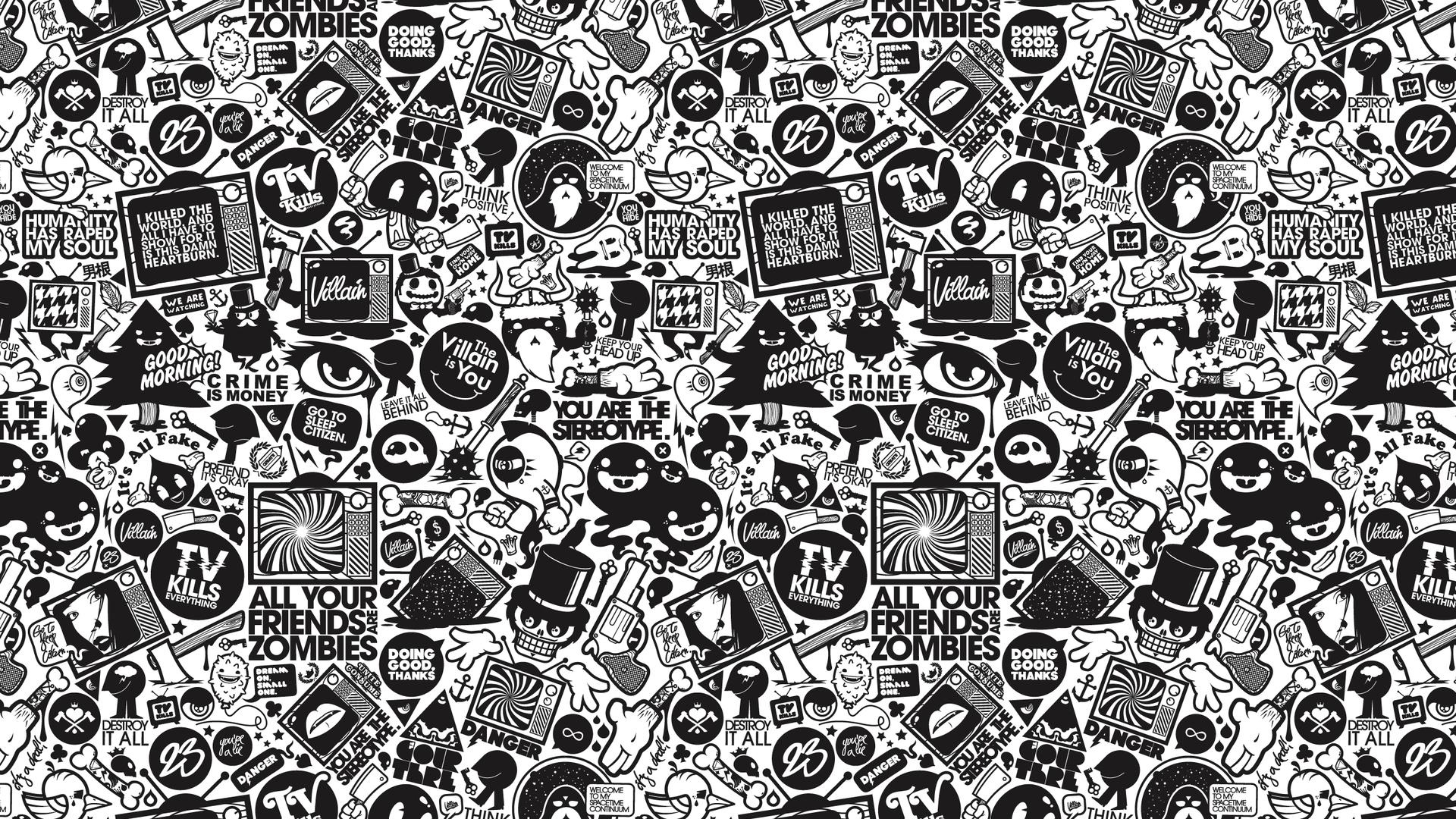 White and Black Wallpaper Designs Desktop Image 1920x1080