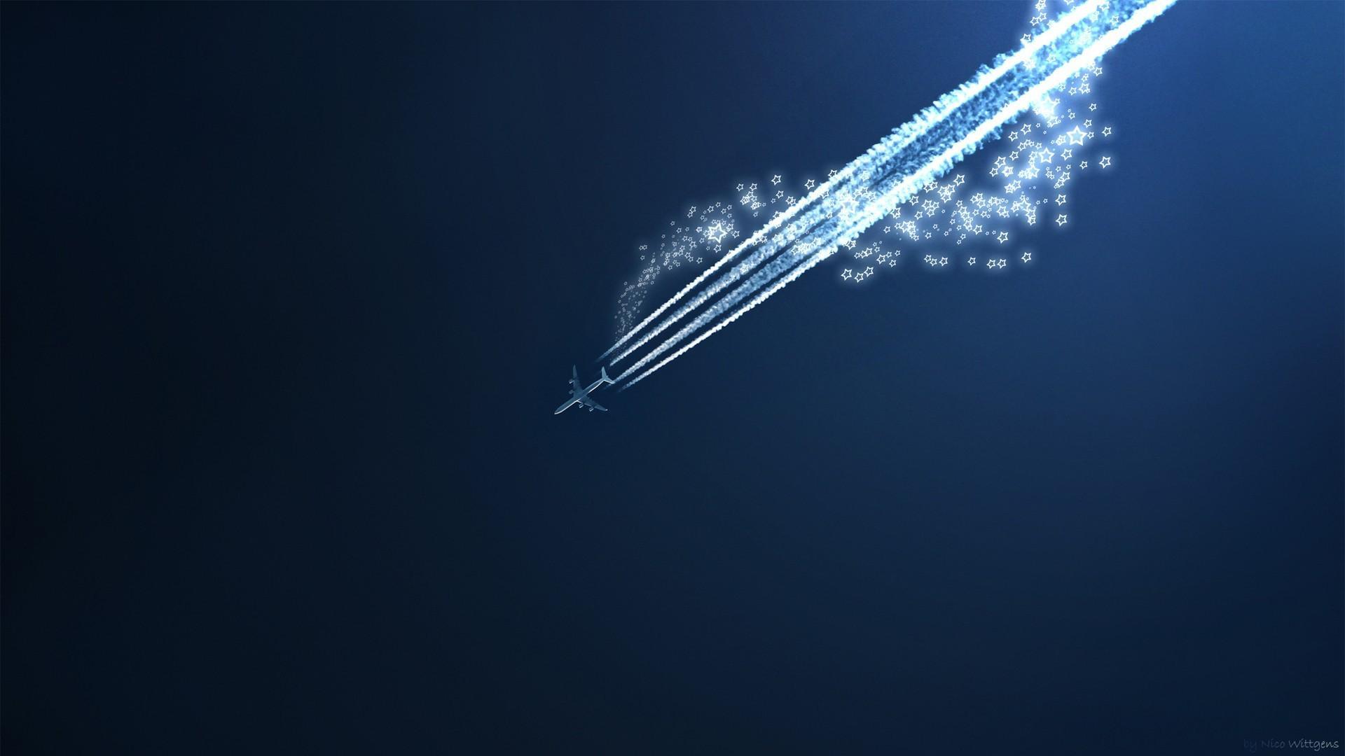 Aircraft shooting star blue background wallpaper 14789 1920x1080