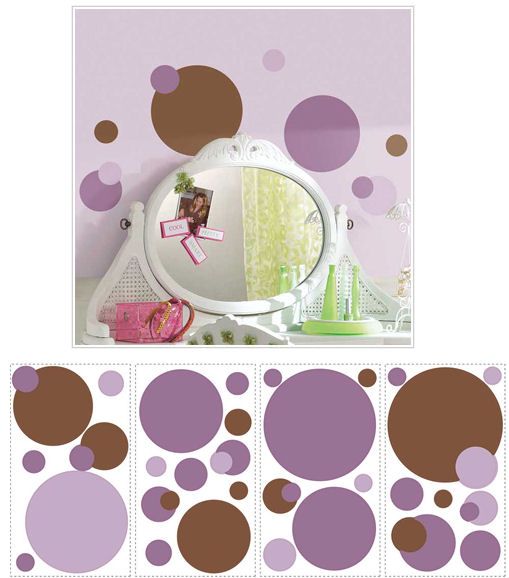 Purple and Brown Peel and Stick Wall Dots SALE   Wall Sticker Outlet 509x578