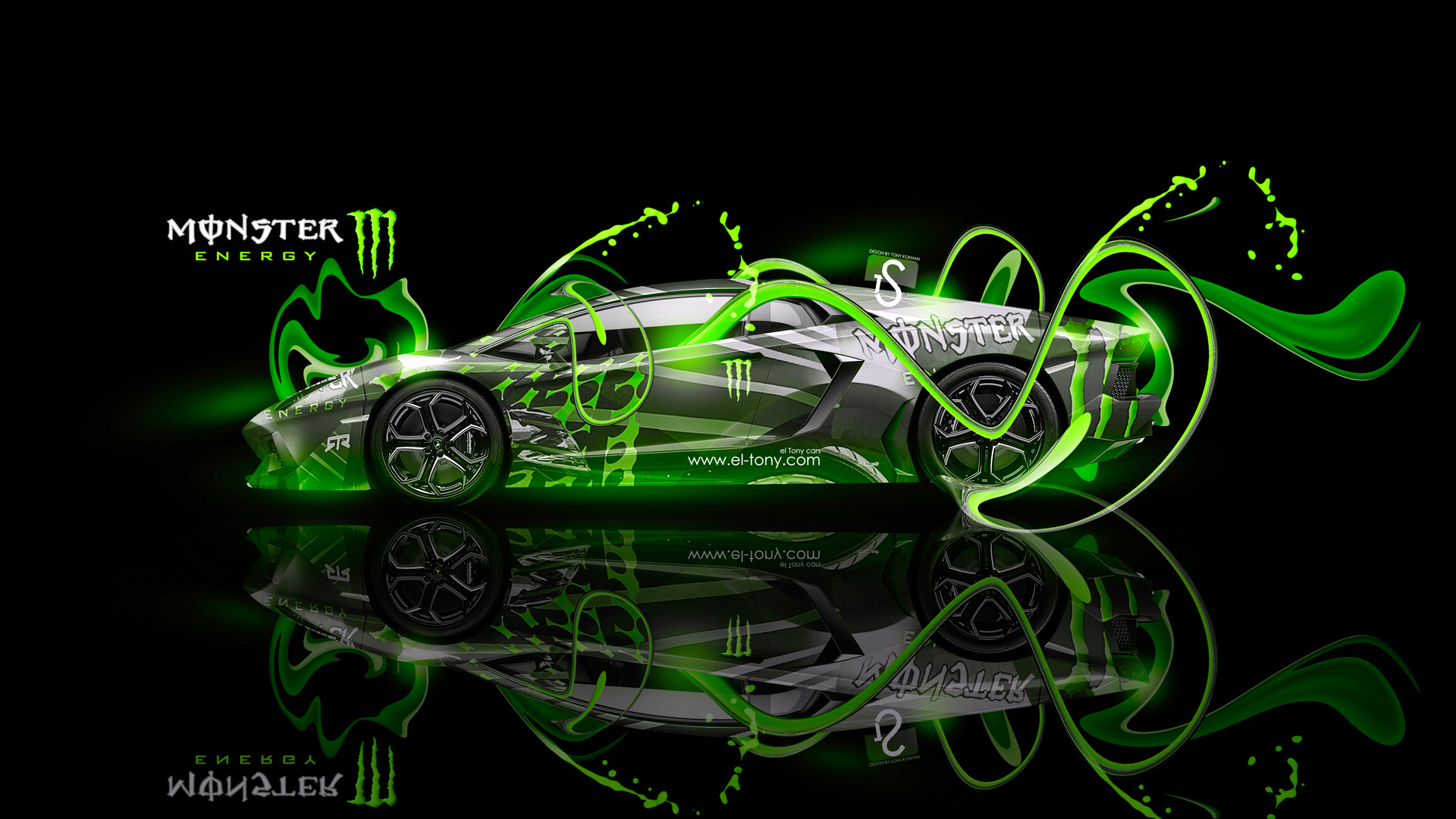 Monster Energy Lamborghini Aventador Fantasy Plastic Car 2013 el 1920x1080