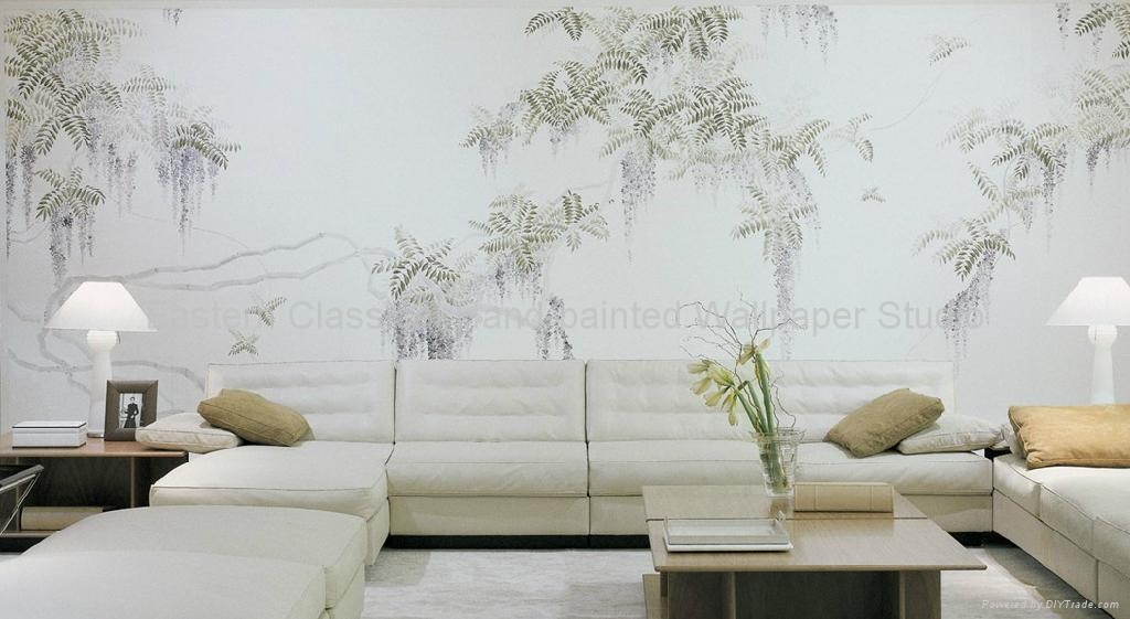 hand painted Chinese art paper wallpaper silk wall covering   EC 1024x561