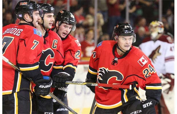 Calgary Flames Captain Mark Giordano second from left celebrates 620x400