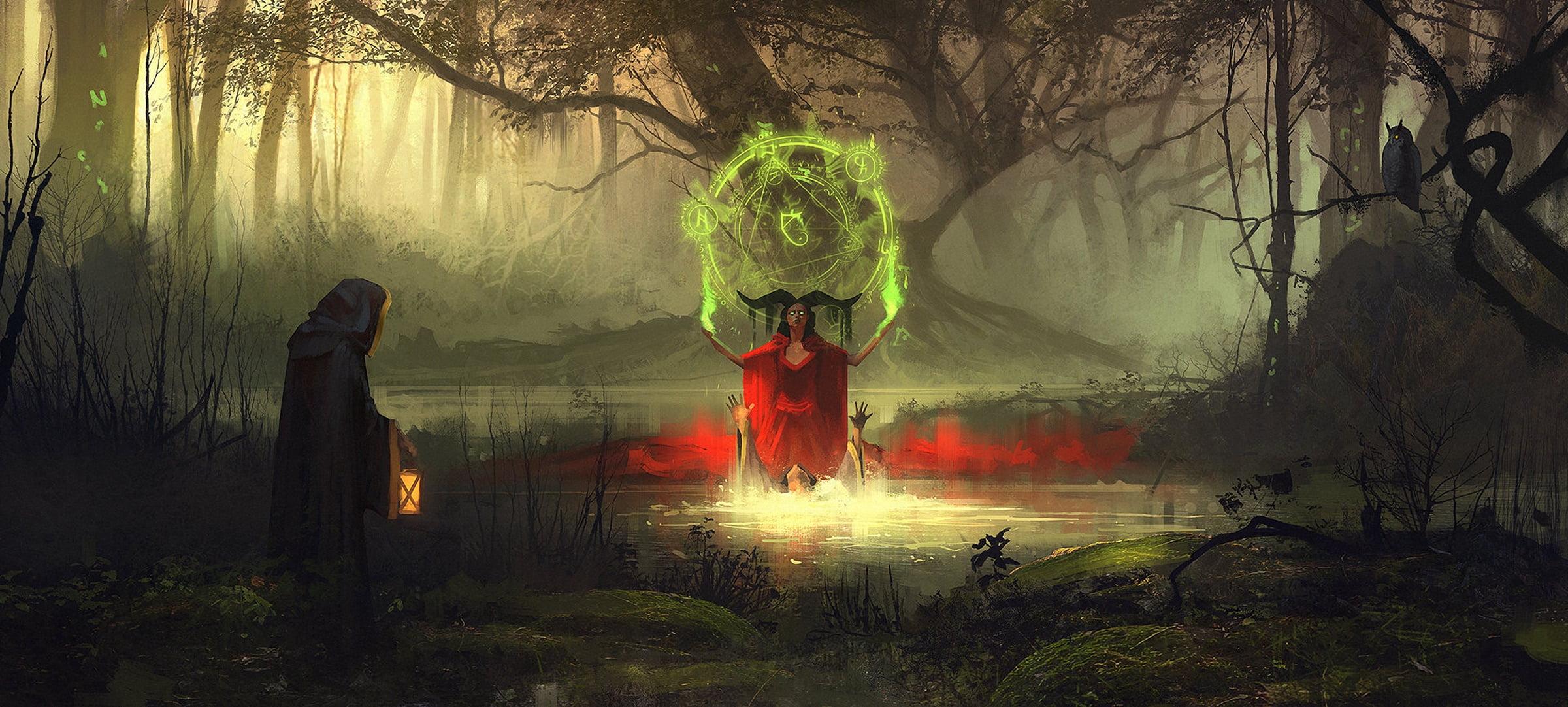 Devil doing green ritual soul illustration artwork digital art 2400x1082