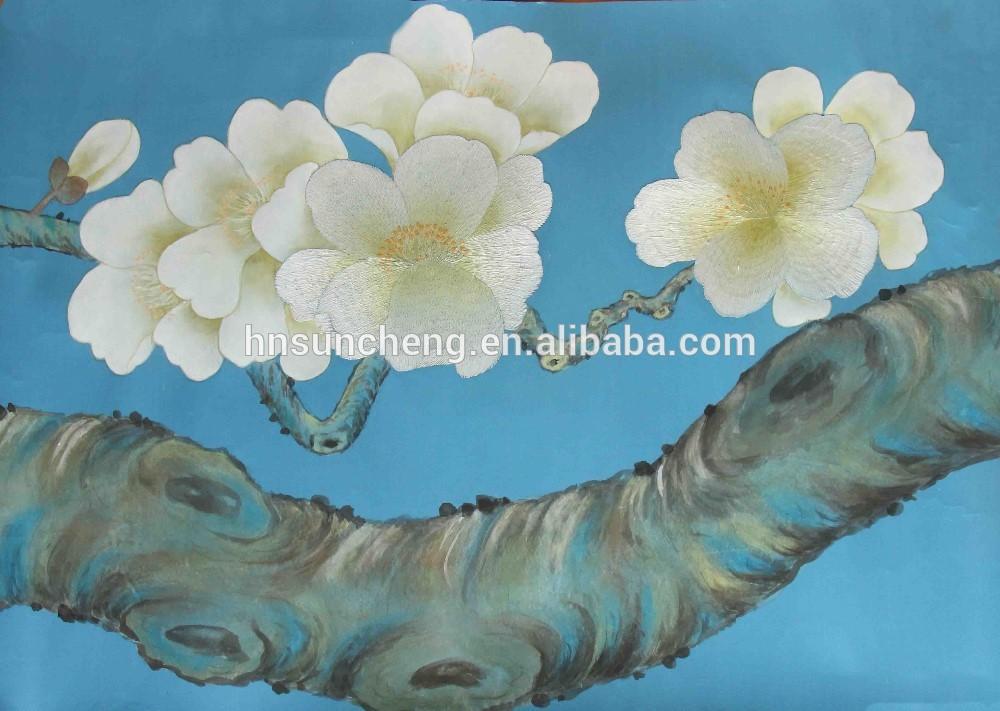 Hand painted silk embriodery wallpaper 3D silk art 100 handmade 1000x711