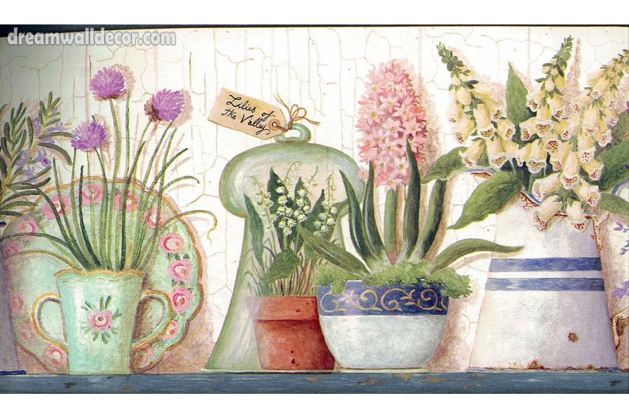 Kitchen Utensils Garden Wallpaper Border 900x600