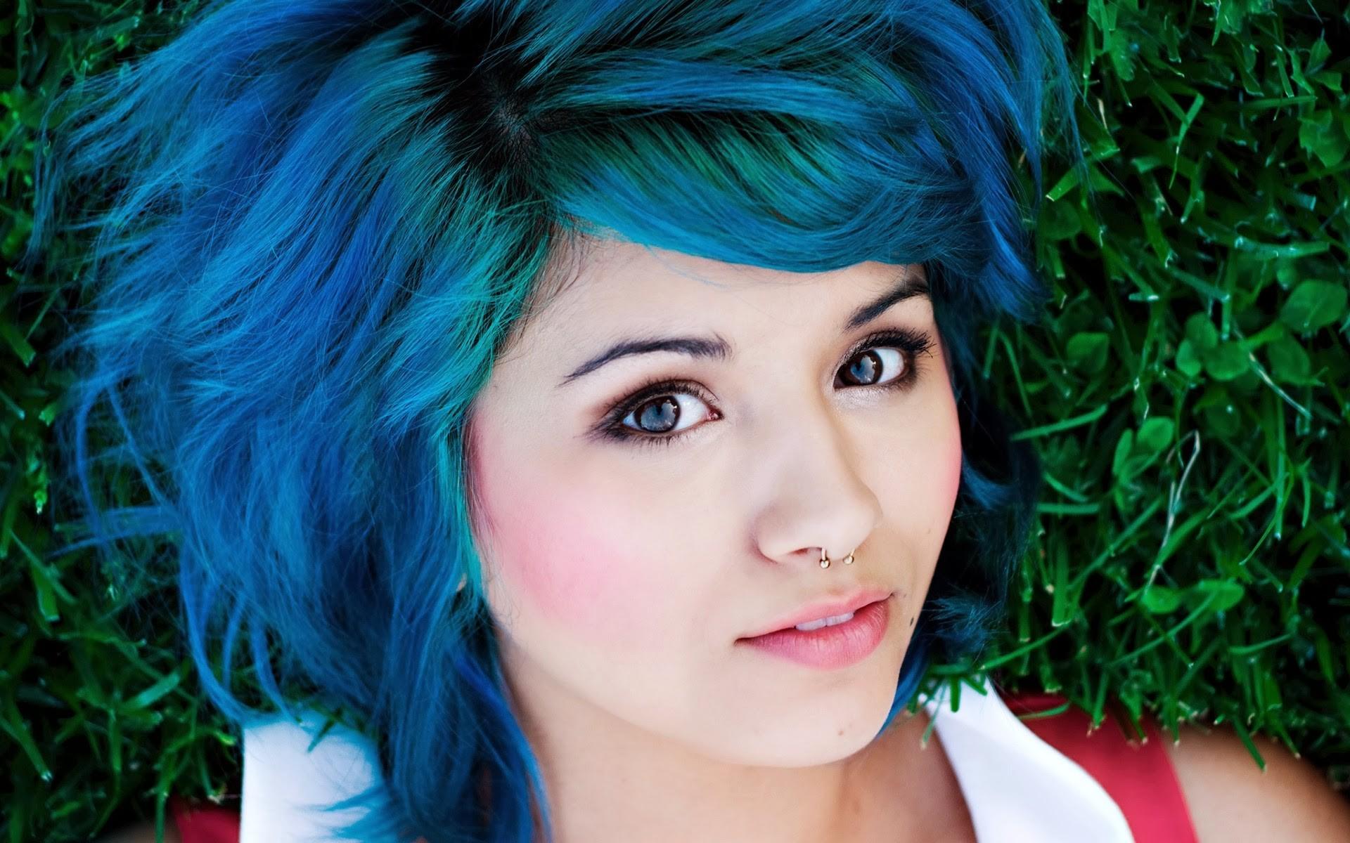 4585927 blue hair face Lia Curtis piercing women nose 1920x1200
