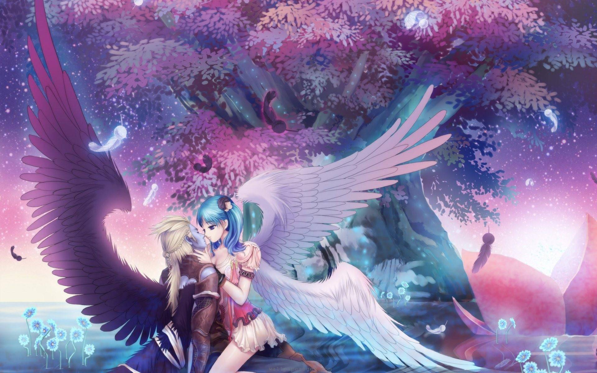 Romantic anime wallpaper wallpapersafari - Beautiful girl anime wallpaper ...
