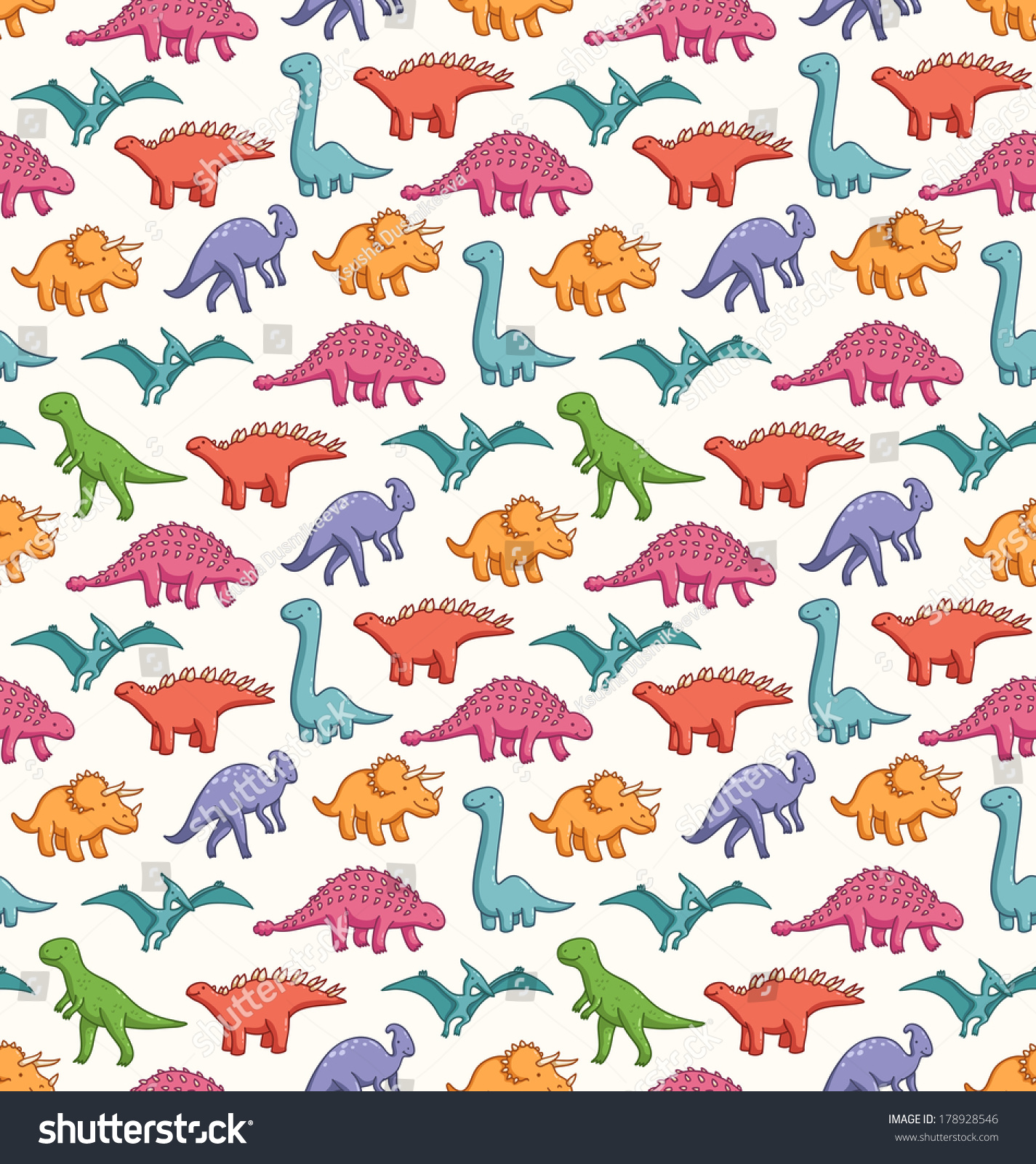 Cute Cartoon Dinosaurs Seamless Pattern Background Stock 1425x1600