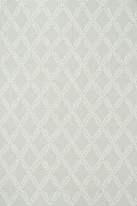 Wallpaper Duck Egg Blue wallpaper with small white Laurel leaf trellis 534x801