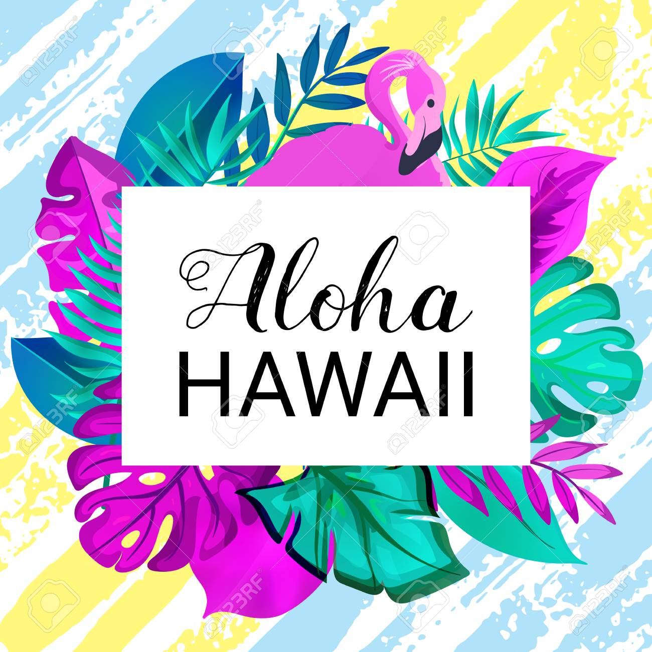 ALOHA HAWAII Greeting Banner Tropical Palm Leaves And Pink 1300x1300