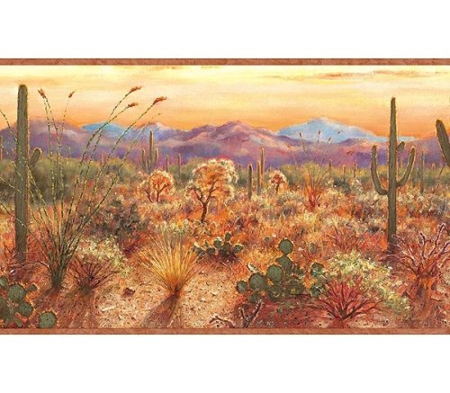 Southwestern DESERT Sunset WALLPAPER BORDER wall paper 500x437