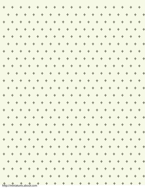 printable dolls house wallpaper with Fleur de Lis on a Celadon 462x600