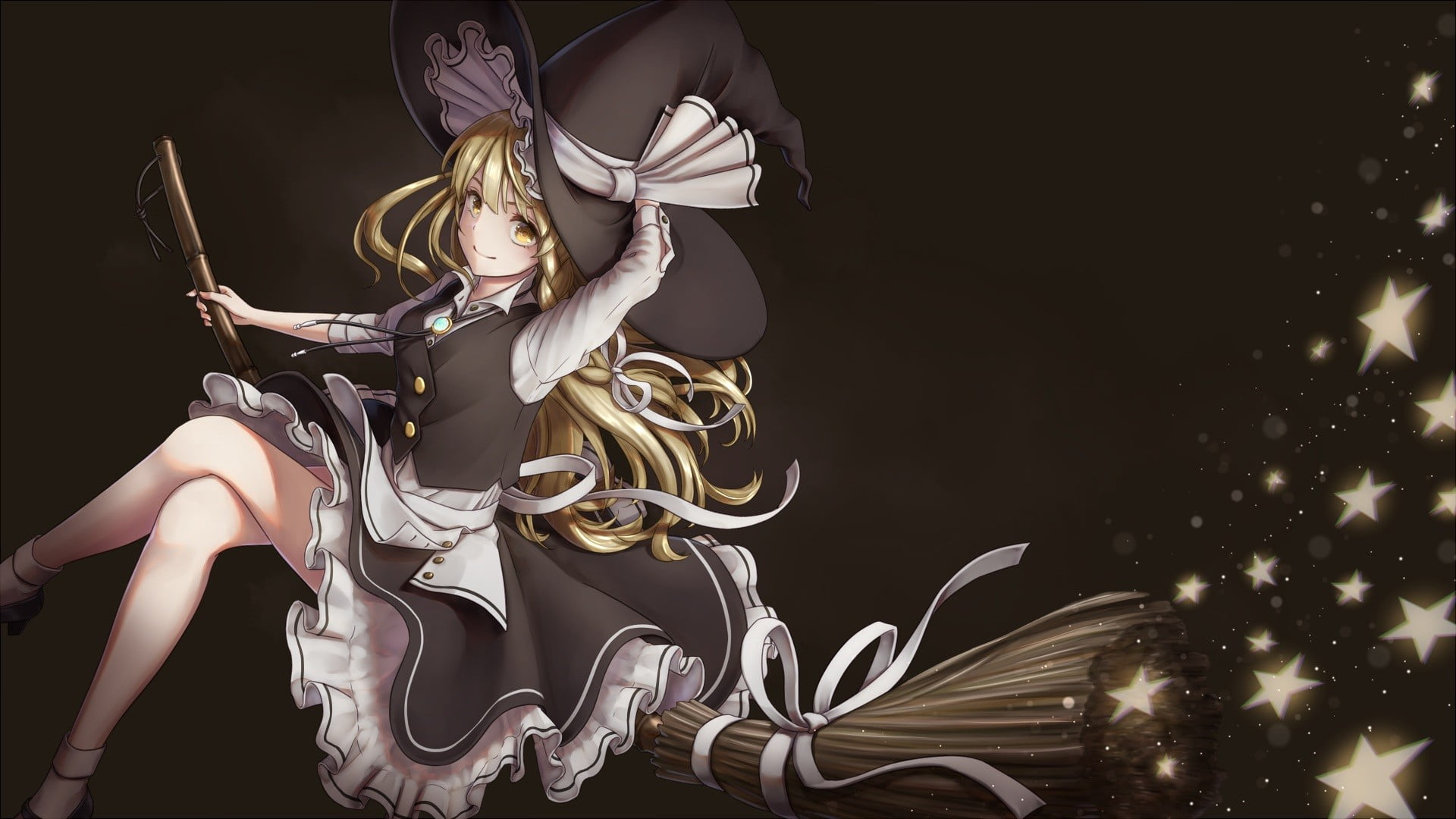 Blonde haired female anime character riding broom stick 1920x1080