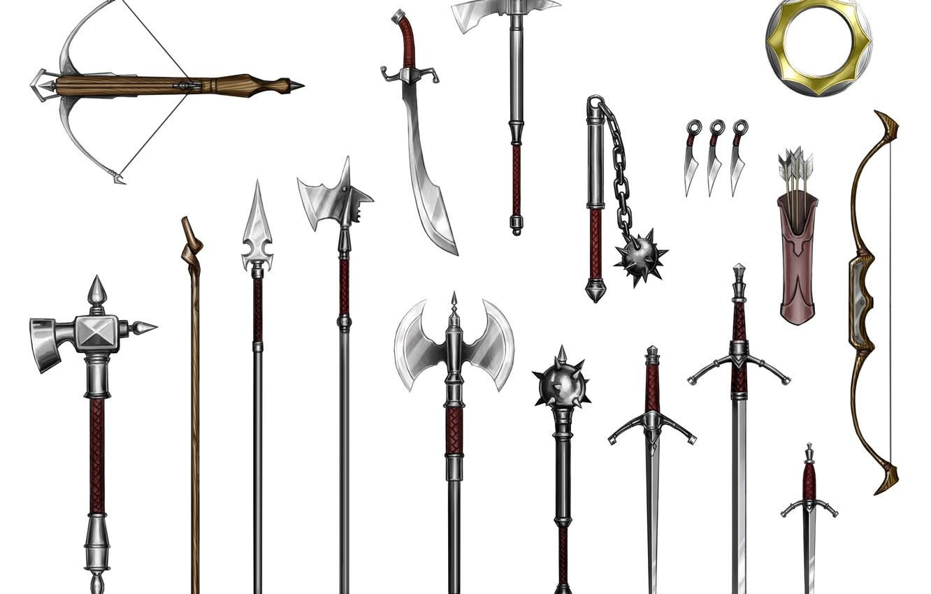Wallpaper spears crossbow quiver mace flail long sword 1332x850