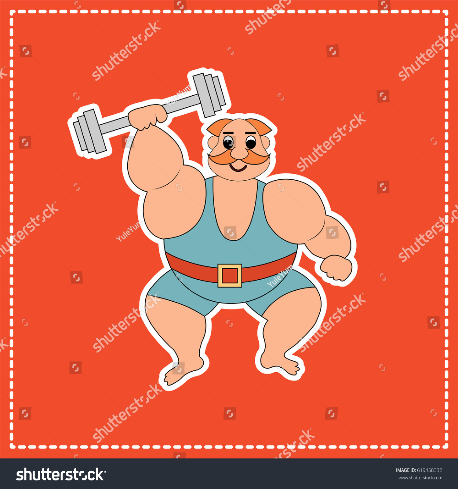 Circus Strongman On Red Background Vector Stock Vector Royalty 1500x1600