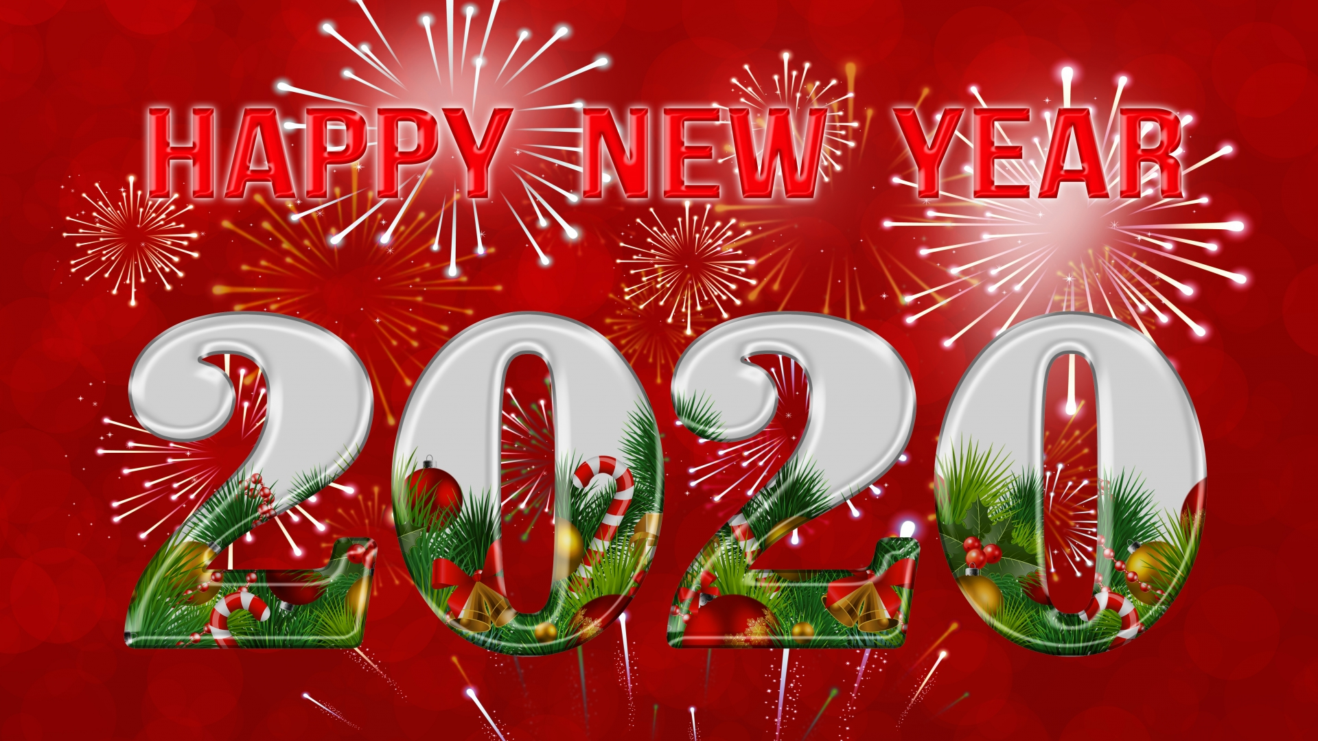 download Happy New Year 2020 Red Background Gallery 1920x1080