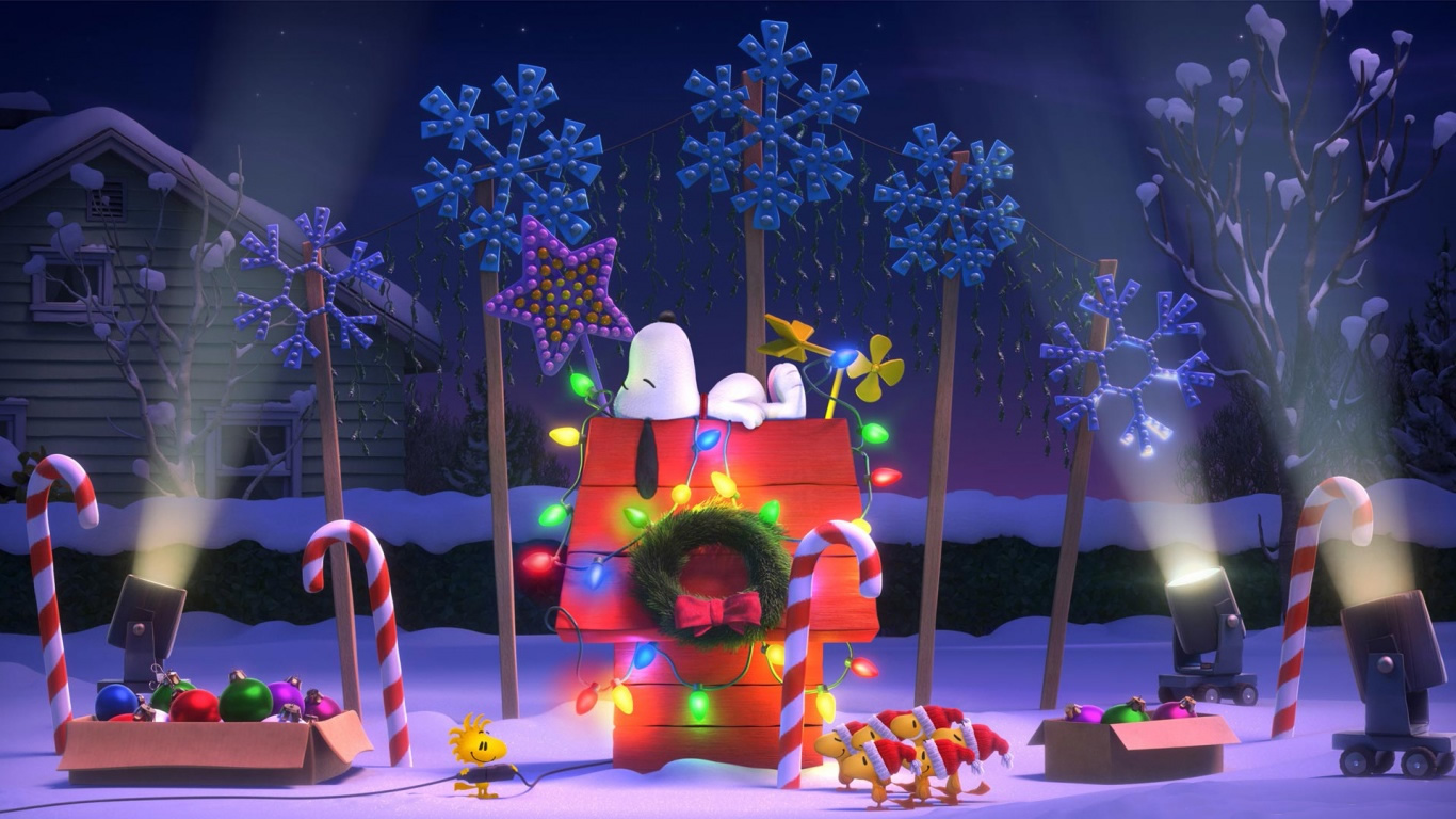 charlie brown christmas featuring snoopy the peanuts gang charlie 1366x768 - Snoopy Christmas Wallpaper