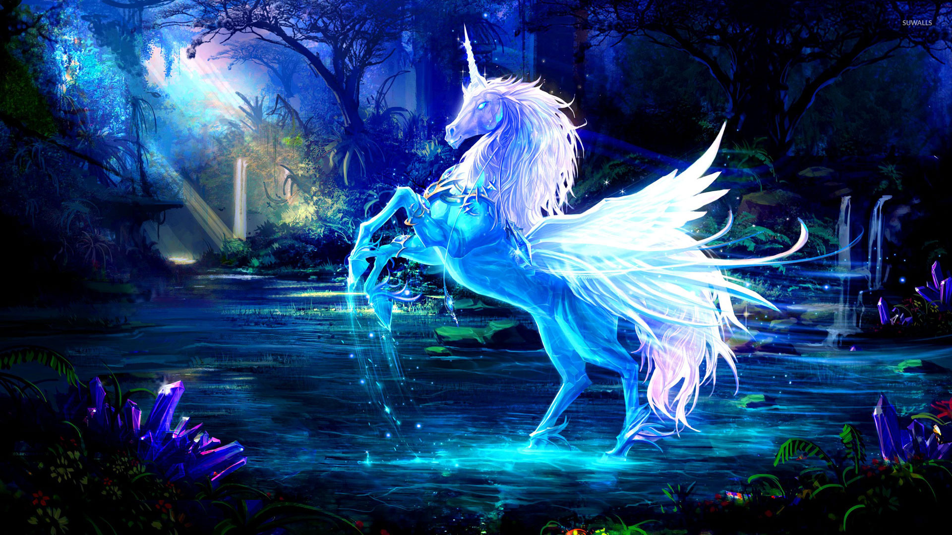 Sparkling crystal unicorn wallpaper   Fantasy wallpapers   18673 1366x768