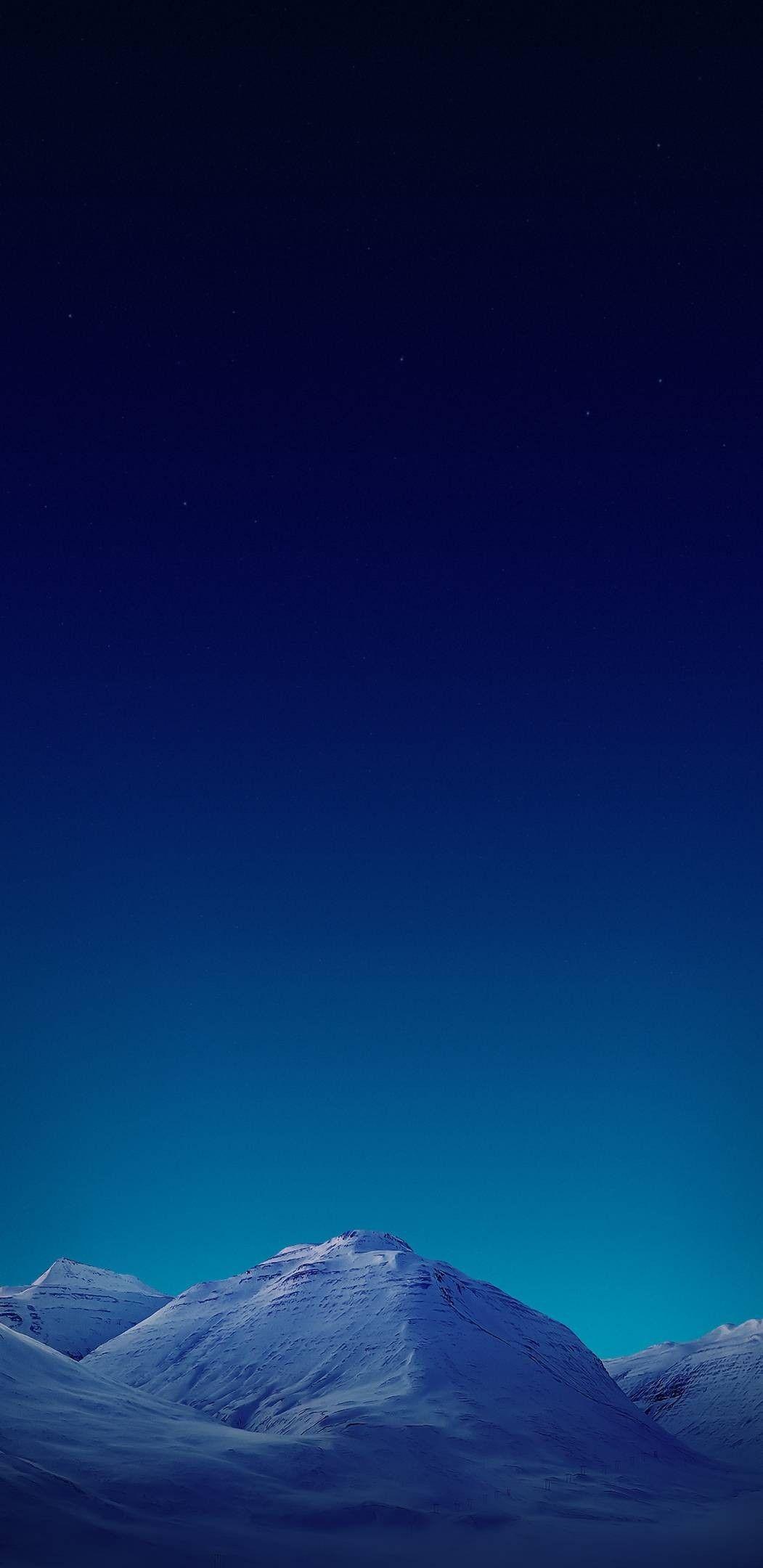 Night sky blue mountain wallpaper clean galaxy colour 1051x2160