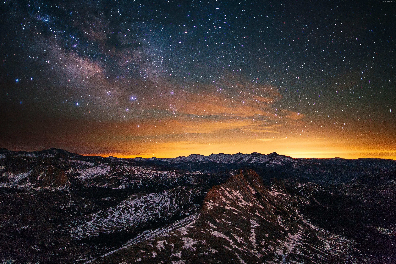 OS OSX Yosemite 5k wallpapers forest stars sunset OSX apple 5760x3840