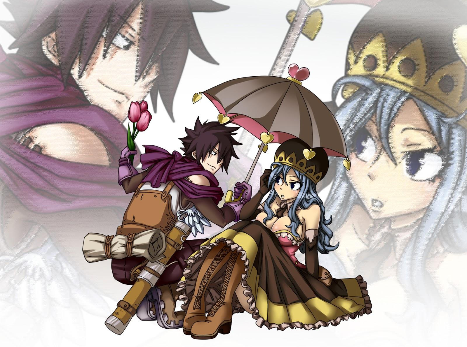 Fairy Tail Gray Fullbuster Juvia Lockser Anime Couple Umbrella HD 1600x1191