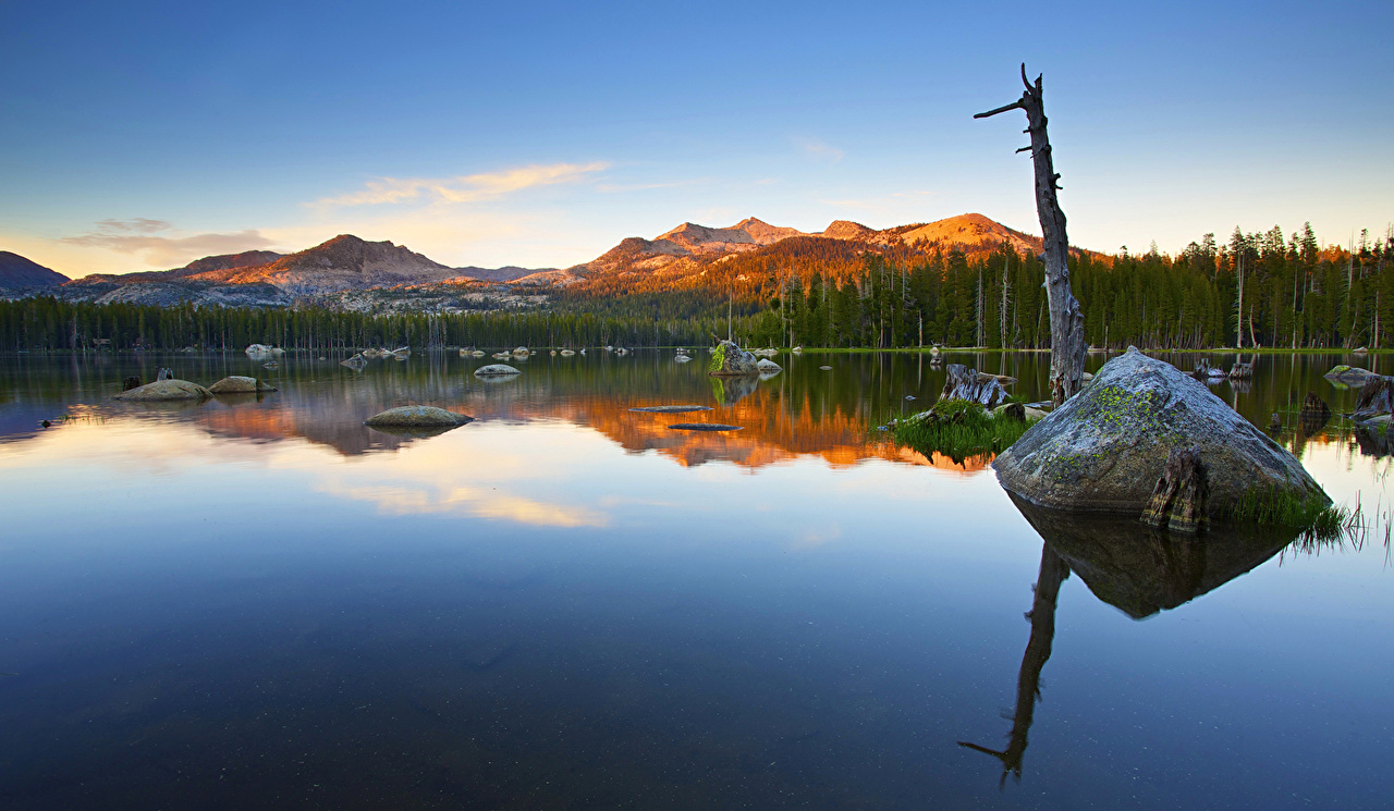 Images Nevada California USA Alpenglow Nature mountain Lake Forests 1280x745