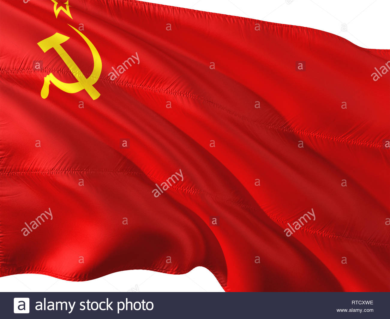 Flag of Soviet Union waving in the wind isolated white background 1300x1065