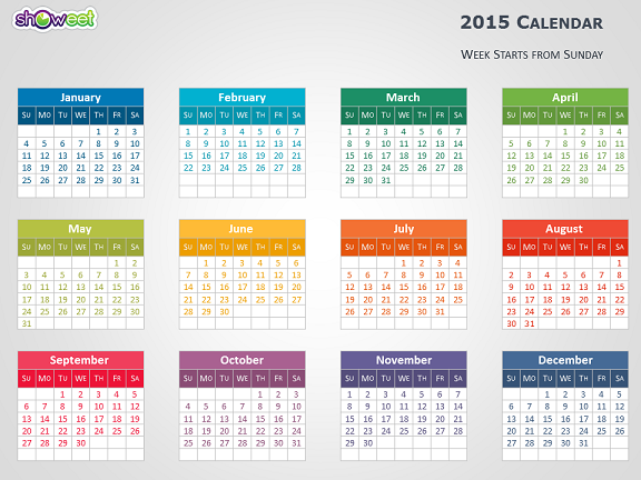 Colorful 2015 Calendar for PowerPoint slide1 576x432