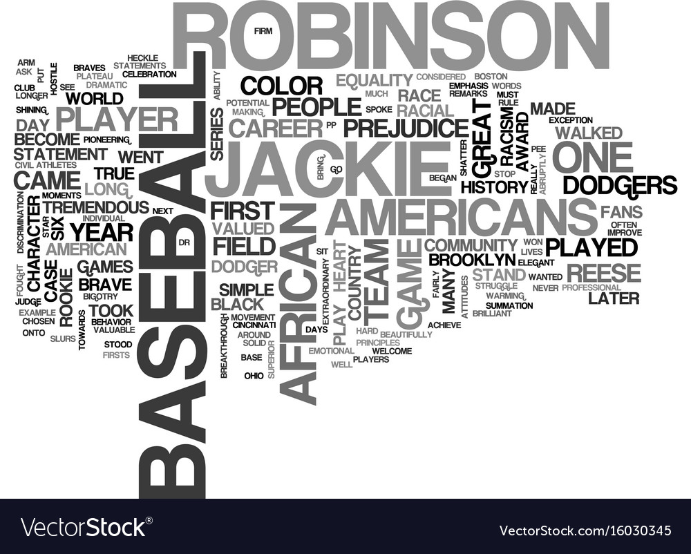 Jackie robinson text background word cloud concept 1000x802