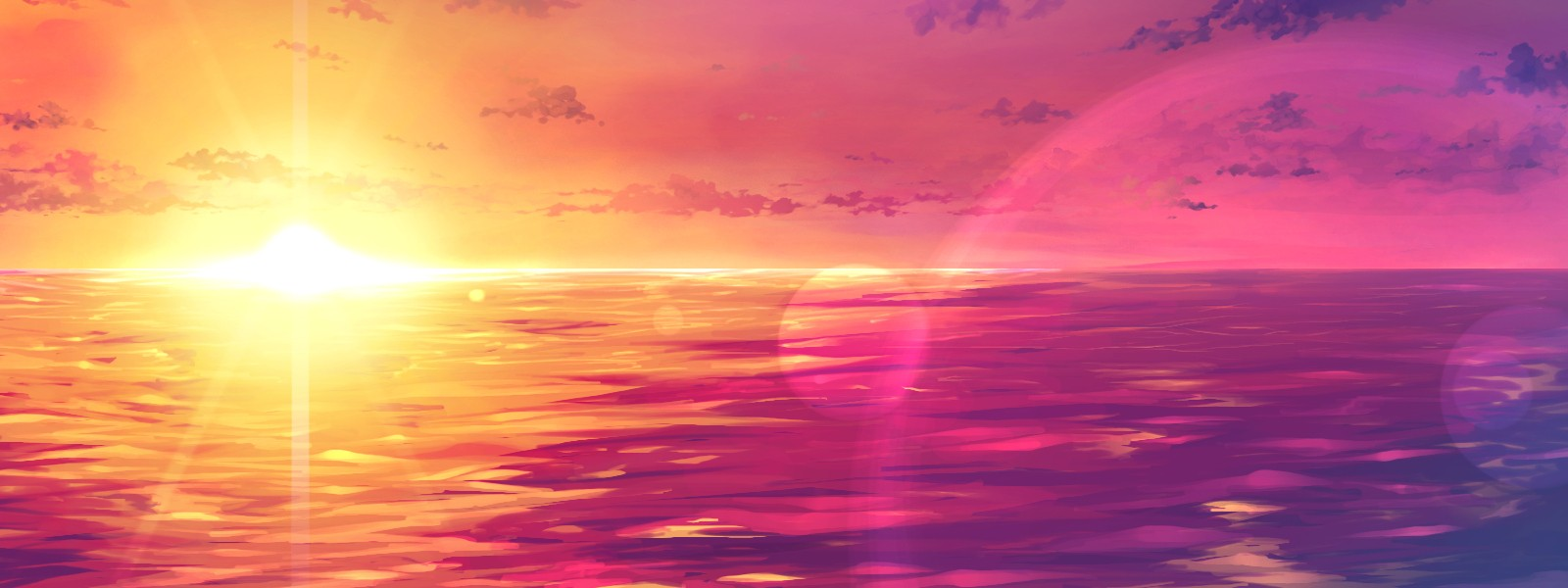 Free download Pink Sunset Wallpaper HD [1600x600] for your Desktop