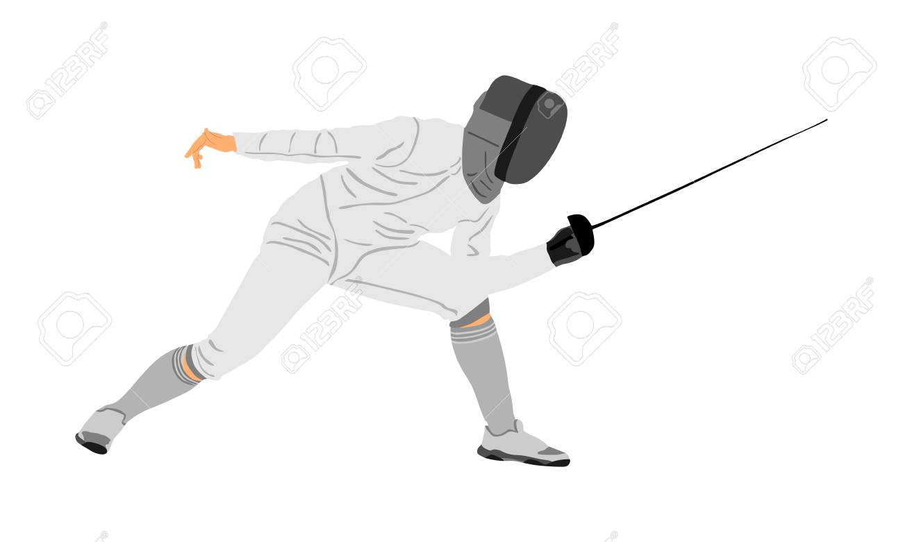 Fencing Player Portrait Vector Illustration Isolated On White 1300x781