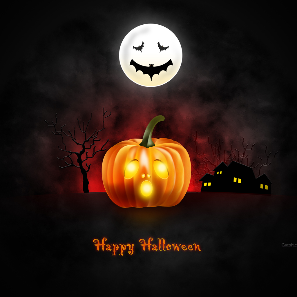 Halloween wallpaper for desktop iPad iPhone PSD icons included 1024x1024