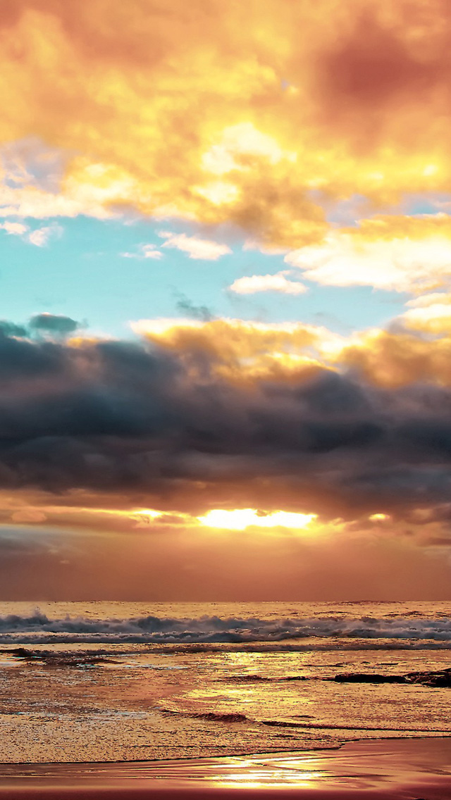 Download Ocean Beach Sunset HD iPhone 5 Wallpapers 640x1136