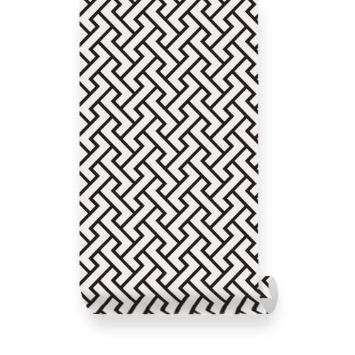 Products Retro Geometric Pattern Black PEEL STICK Fabric Wallpaper 500x500