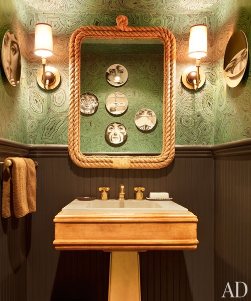 This masculine bathroom is fabulous The beautiful wallpaper by Cole 500x600