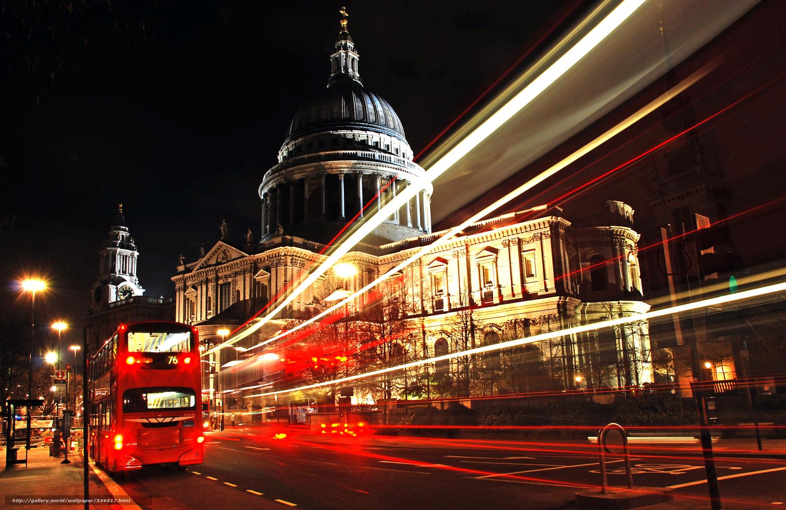 Download wallpaper London city bus night desktop wallpaper in 1600x1038