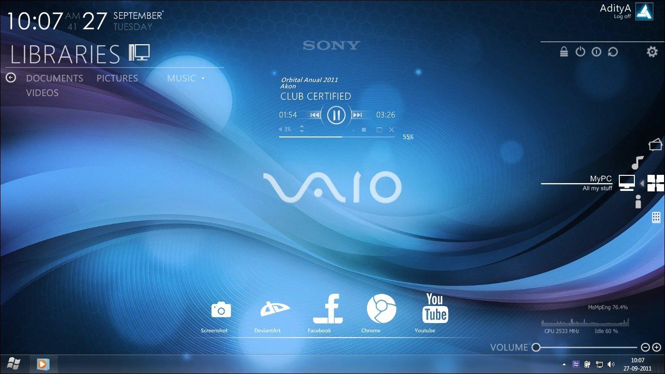Free download sony vaio rainmeter desktop by ace7777