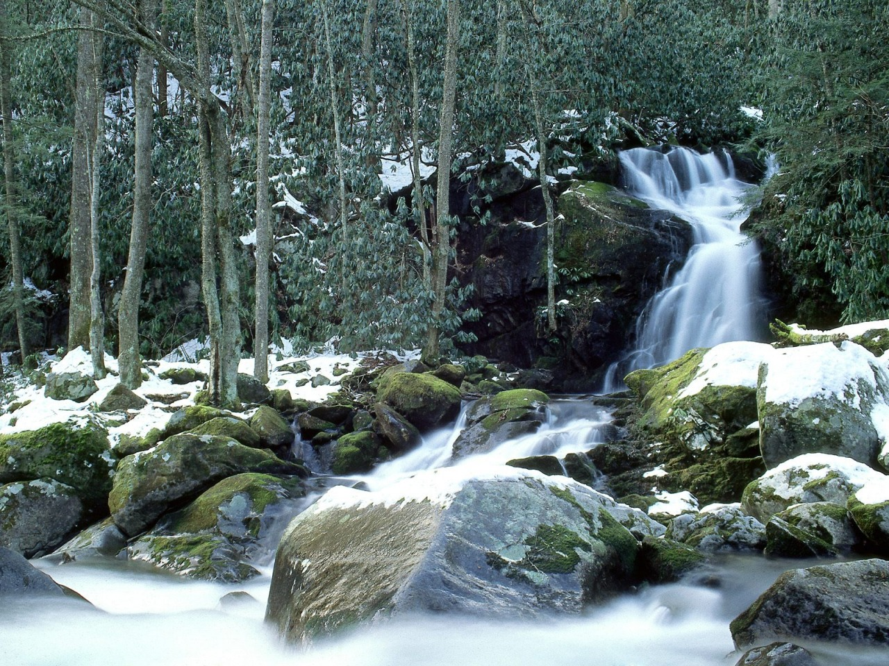 Mouse Creek Falls in Winter Wallpaper Waterfalls Nature Wallpapers 1280x960