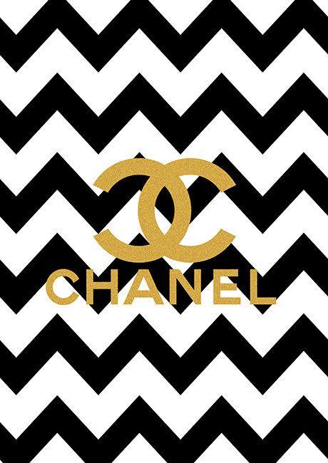 Chanel Print Chanel logo black chevron 460x650
