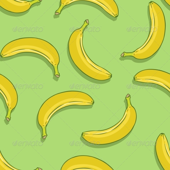 Seamless Pattern of Bananas on Green Background   Patterns Decorative 590x590