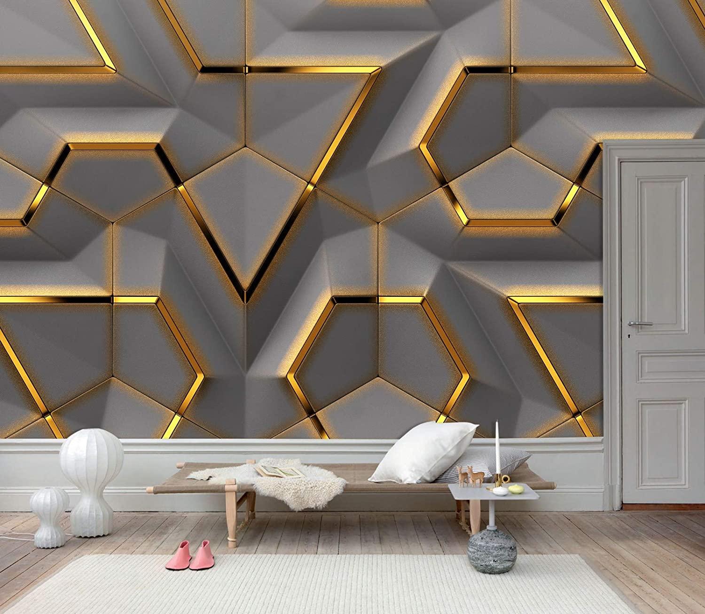 Amazoncom 3D Gold Geometric Shapes Wallpaper Grey Background 1500x1305