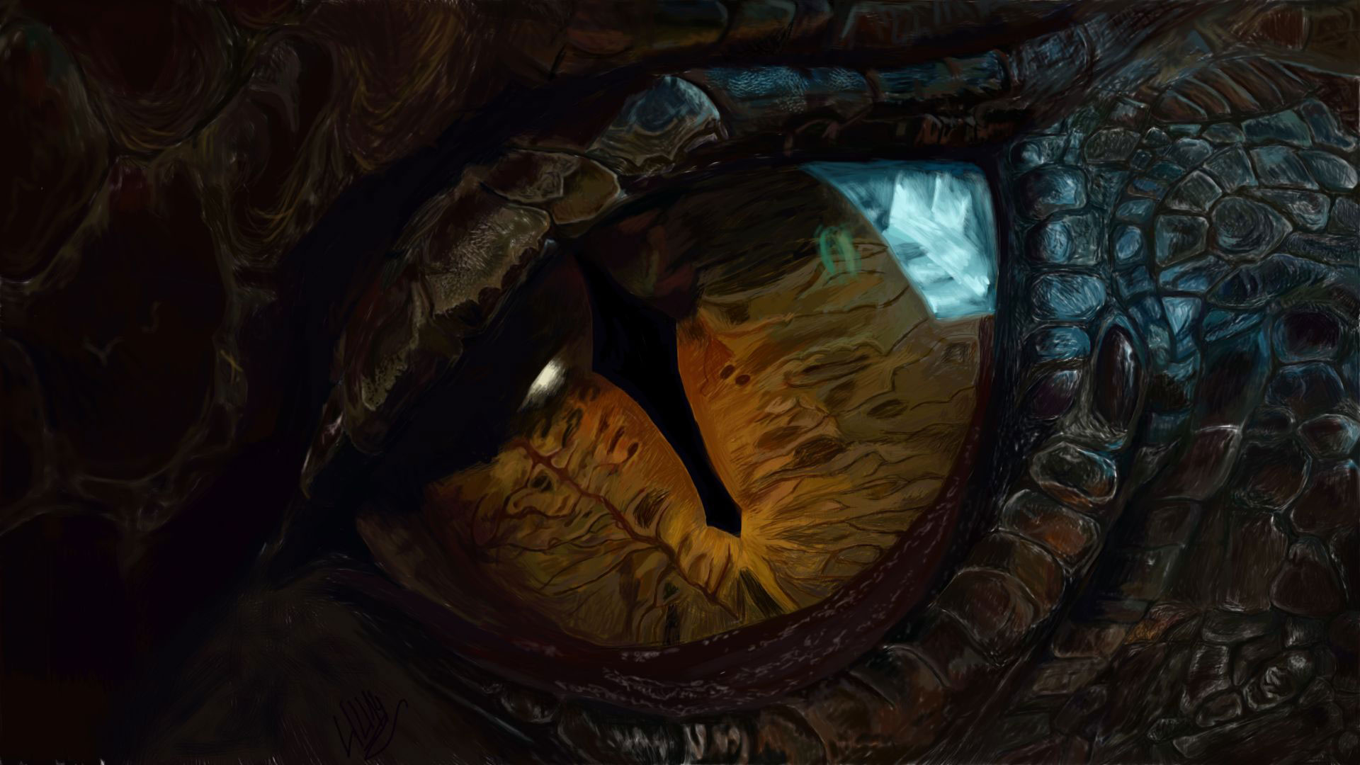 Hobbit 3 Eye Smaug Wallpaper HD 1920 x 1080 1920x1080