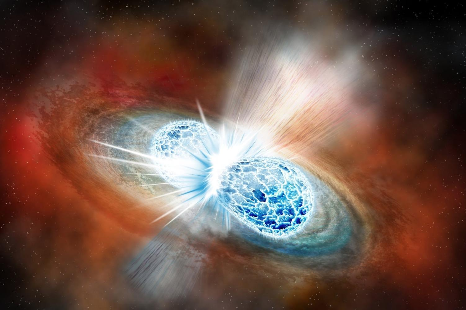Two stars crash into each other wobbling the universe and 1502x1000