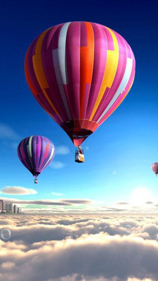 Colorful Hot Air Balloons Over The Clouds Wallpaper   iPhone 540x960