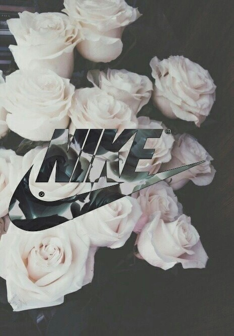 background black cute flowers girly nike tick white 464x667